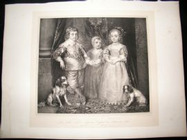 After Anthony van Dyck C1840 LG Folio Print. Children of Charles I